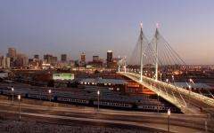View of the Mandela Bridge at night in Johannesburg, South Africa