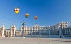 spain madrid royal palace with hot air balloons