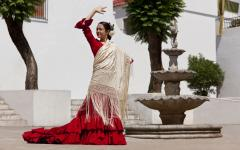 spain andalusia traditional flemenco dancer in a red dress