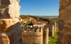Scenic medieval city walls of Avila, Spain.
