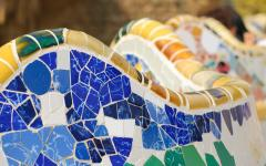 spain barcelona close up of the mosaic design at park guell