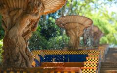 spain barcelona fountains with colorful mosaic tiles