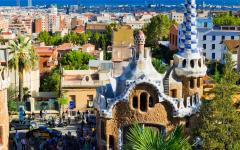 spain barcelona view of the city and sea from park guell