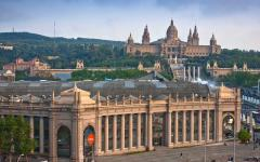 spain barcelona the national museum and placa de espanya