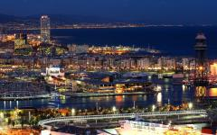 spain barcelona beautiful night view of the city lit up