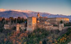 spain granada the alhambra at sunset