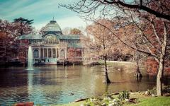 spain madrid the crystal palace at retiro park in autumn