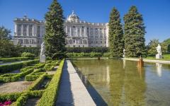 spain madrid huge white palace building from sabatini gardens