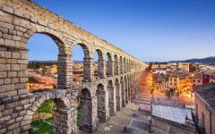 spain segovia view of the roman aqueduct