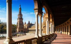spain seville the colonnade in the plaza de espana
