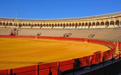 spain seville empty bullring with bright blue sky