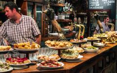 spain tapas bar with food and wine