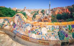 spain barcelona guell park overlooking the city