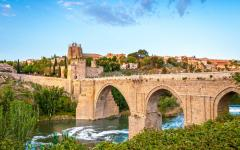 spain toledo view of the alcantara bridge over the tagus river