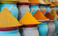 Spices for sale at market in Marrakech, Morocco.