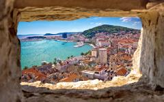 Looking out onto Split town in Croatia.