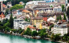 houses in Montreux at the edge of Lake Geneva