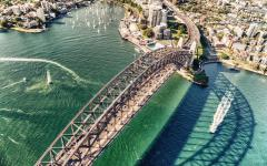 australia aerial view of sydney bridge and harbor