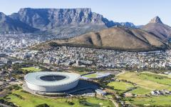 Table Mountain in South Africa with the Cape Town stadium in the foreground