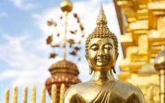 Golden Buddha statue in Chiang Mai, Thailand.