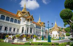palace with golden temples and blue sky