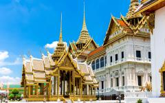 golden temple and spires form the grand palace in bangkok