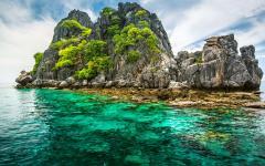 cliffs overlook deep green water