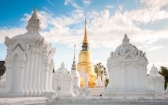 The Golden Pagoda at Wat Suan Dok in Chiang Mai, Thailand.