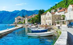 Boats tied up in the small port of Perast in Montenegro.