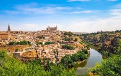 spain toledo cityscape view of the old town and tagus river