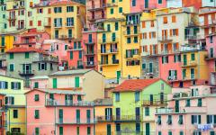 Colorful houses in Manarola, Italy.