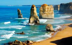 large rock formations known as the twelve apostles on the scenic great ocean road