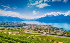 View of Vevey with rows of vineyard terraces of the Lavaux wine region, Switzerland.