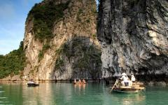 A tour by boat in Vietnam.