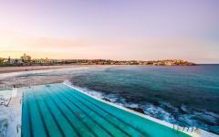 view of bondi beach in sydney from the bondi icebergs pool