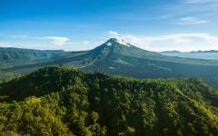 view of mount batur the active volanco in bali