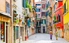 View of colorful Venetian houses.