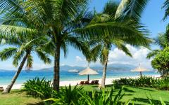 A beach on Nha Trang island in Vietnam.