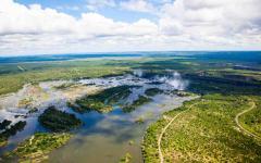 An aerial view of the Zambezi river in Zimbabwe.