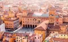 Aerial view of Bologna.