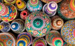 Handcrafted pottery in a market.