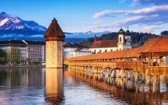 Chapel bridge on Lucerne historical city center.