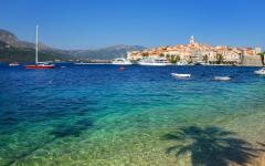 Clear blue water in Korcula, Croatia.