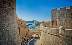 Old city walls in Dubrovnik, Croatia.