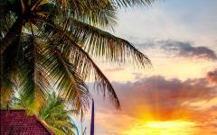 Sunset on the Bali coastline.