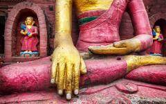 Buddha statue at swayambhunath stupa in Kathmandu.