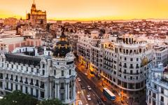 spain madrid aerial view of gran via shopping street at sunset