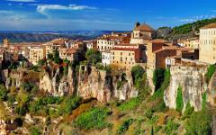 spain view of cuenca town on cliff rocks