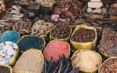 Traditional spice bazaar in Egypt.