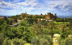Looking across to the medieval fortress of Montalcino in Tuscany.